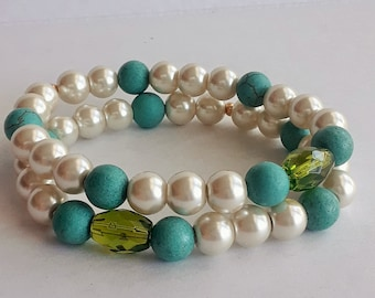 Crystal Pearls and Magnesite Stretch Bracelet-Abigail