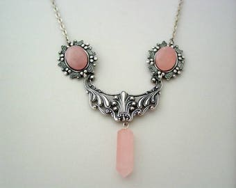 Art Nouveau Pink Rose Quartz Crystal Point Drop Floral Necklace