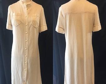 35% Off Sale Mod Retro Khaki cotton shirt dress women's small medium 1960 1970