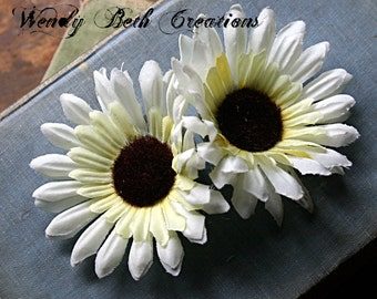 White Sunflower Duo Hair Clip Fascinator Set - Vegan, ATS, Tribal, Fusion, Belly Dance, Wedding