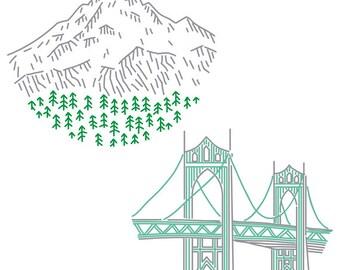 Portland PDF Embroidery Pattern Pack