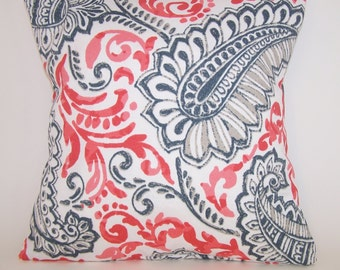 Outdoor Pillow - Salmon, Taupe, Grey and White PILLOW - Paisley - All Sizes - Indoor/Outdoor - Premier Prints - Coral Pillow Cover