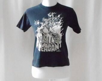 Vintage 1990s Black Wally Pleasant Concert T Shirt, 1990s Wally Pleasant, Vintage Concert Shirt, Vintage Wally Pleasant, Black Concert Tee