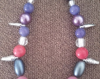 Vintage necklace recycled materials 70/80