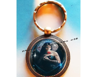 Keychain with glass cabochon 25 mm Ange