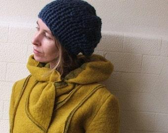 blue hat, blue knit hat, blue beanie, slouchy hat,hand knit hat Blue Beanie Denim blue chunkier hat  vegan friendly