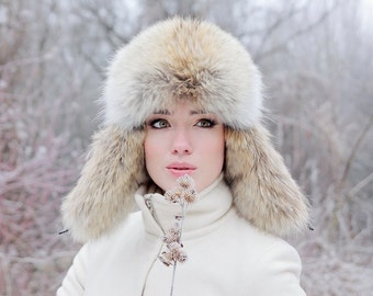 Real coyote fur hat Russian ushanka hat Fur trapper hat Luxury Christmas gift for wife