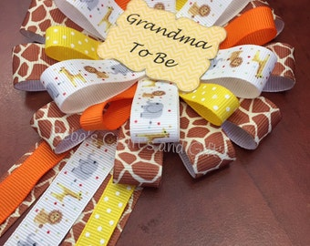 Baby Shower Pin -  Grandma To Be - Jungle, Safari, Zoo