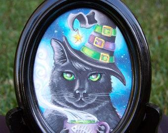 Black Cat ORIGINAL Art Original Copic Marker Drawing Fantasy Art Wiccan Halloween Art Halloween Cat Witch Cat