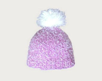 wool pink velvet costume and white Pompom baby Hat