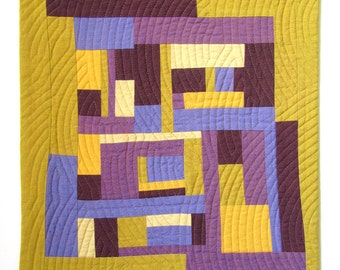 Mini Modern Quilt. Abstract Improv Quilt. Yellow and Purple Fabric. Fiber Art. Contemporary Textile Art. Modern Home Decor. Small Quilt.