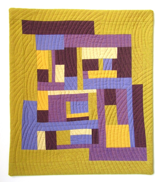 Mini Modern Quilt. Abstract Improv Quilt. Yellow and Purple