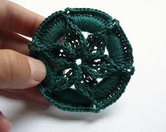 Crochet Christmas Ornament -- Pine Green Medallion