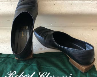 Robert Clergerie - Paris ~ Vintage Black Leather Brissac Loafers with Square Wooden Tip and Heel ~ Size 7 B