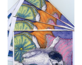 4 x Border Collie dog greeting cards - extreme relaxation was her sport