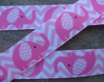 """3 yards Baby Shower grosgrain ribbon Elephant Ribbon Chevron Elephant Ribbon 7/8"""" Pink Elephant Printed Ribbon hair bow ribbon"""