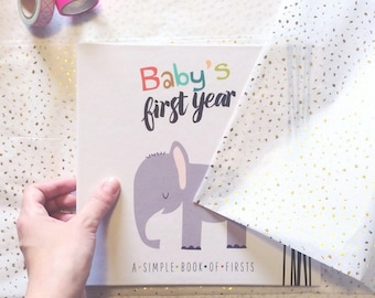 Baby Book- Gender Neutral Baby Book- Jungle Baby Book- Safari Baby Book- Animal Baby Book- Baby's First Year- Baby Memory Book- Baby Journal