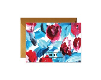 HELLO Floral Blue and Red Notecards + Envelopes Pack   Boxed Set (8)   Handpainted