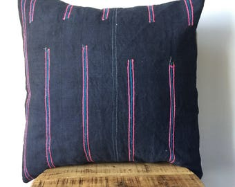Deep Navy Hmong Embroidered Tribal Pillow Cover - Hand made in the hills of the Hmong Tribe - Deep Navy with Pink