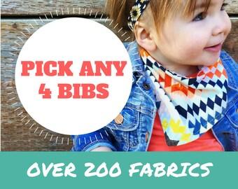PICK ANY 4 Bibdanas! Baby Bandana Bibs, Baby Bandanas, Baby Drool Bib, Baby Shower Gift, New Baby Gift, Baby Shower Present