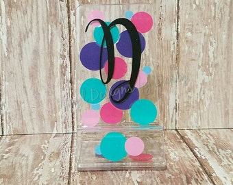 Acrylic Cell Phone Stand - Personalized - Polka Dots