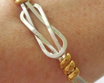 Unisex Heavy Sterling Silver and Brass Cuff Bracelet Men Women Ladies Wirewrap
