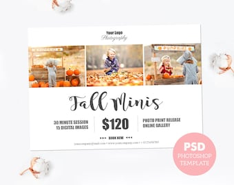 Gift certificate template newborn session photography gift mini session template marketing board photography template fall photo mini session template fully yelopaper Image collections