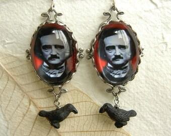 Edgar  Poe Earrings - Blood Red and Raven Black