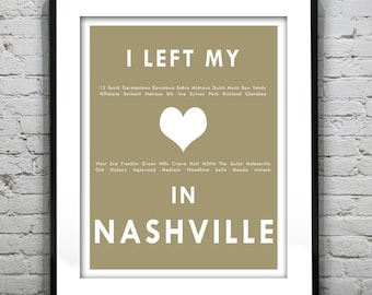 Nashville Tennessee - I Left My Heart In Nashville - Poster Art Print TN