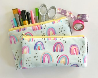 pencil pouch -- whimsical rainbow