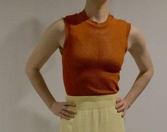 Retro Orange Knit Original Kmart Mesh Top •Vintage Mesh Top • Orange Mesh Top