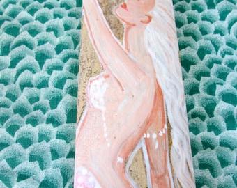 SALE Beautiful Hand Painted Mermaid on driftwood/Bamboo, Bathroom Mermaid Decor