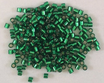 Miyuki Delica Beads, 8/o, Silver Lined Green, DBL-0046-50, 5 Grams, Japanese Glass