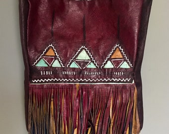 Tuareg Leather Shoulder Bag painted with Dark Red, Emerald Green & mustard yellow