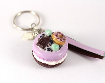 Cute macaroon Keyring, purple and chocolate
