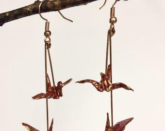 Chiyogami Origami Double Crane Couple  Earrings