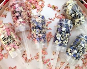 Page boy / Flower Girl Petal Push Pops natural flowers Delphinium biodegradable confetti