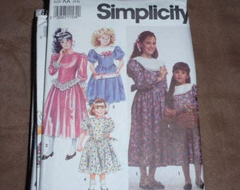 Simplicity 7404 Girls Dress with Collar and Trim Variations  Size 3 to 6  New Uncut