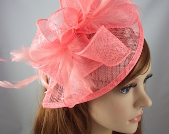 Coral Pink Teardrop Sinamay Fascinator with Feathers - Wedding Races Special Occasion Hat