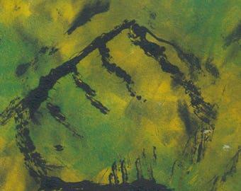 Untitled monoprint, green, yellow, black