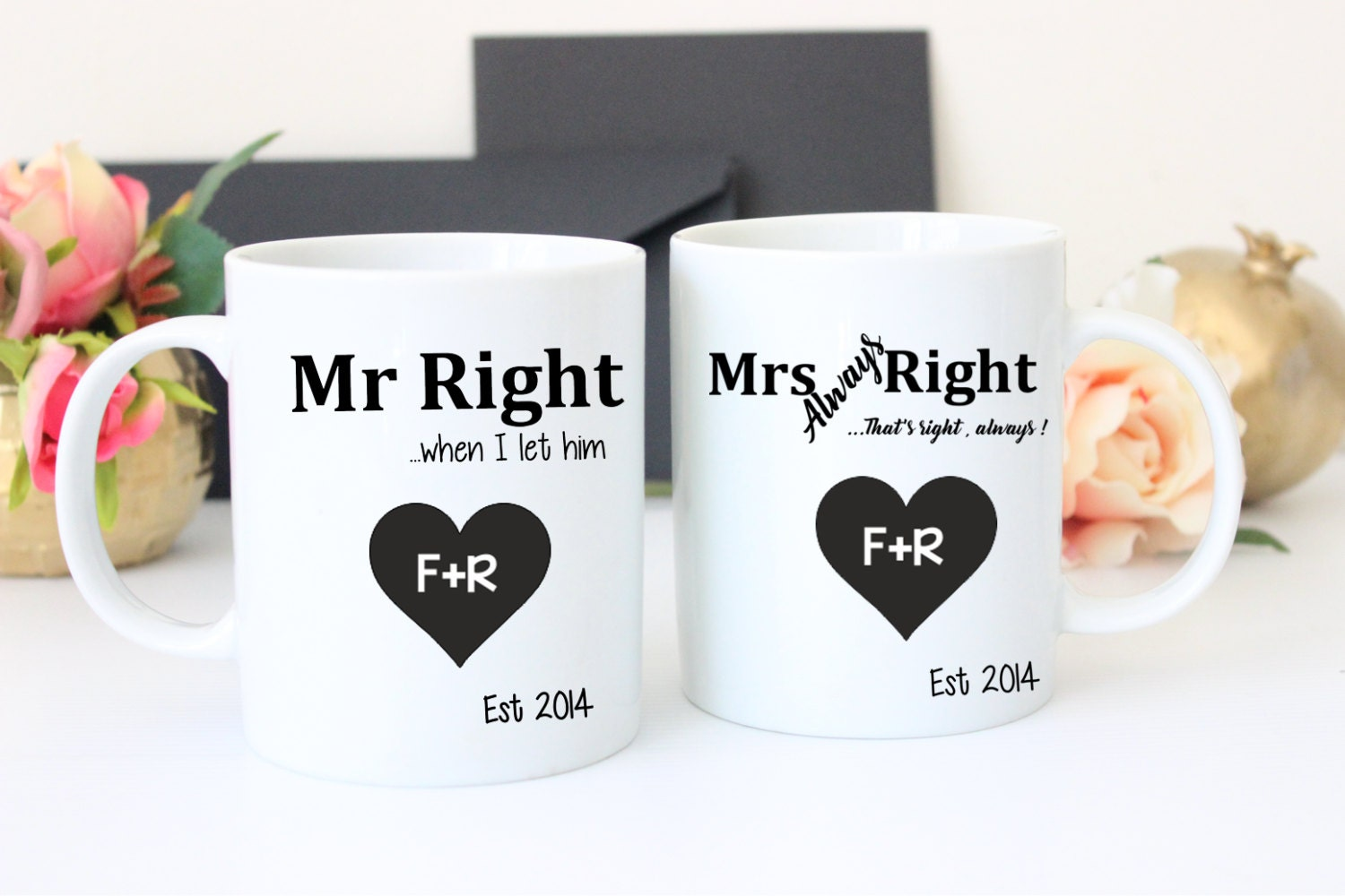 Valentines Day gift, His and her mugs, Mr and Mrs mug, Gift for her ...