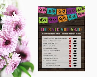 He Said She Said Game, Fiesta Bridal Shower He Said She Said, Fiesta Bridal Shower Game, Instant Download PDF Printable
