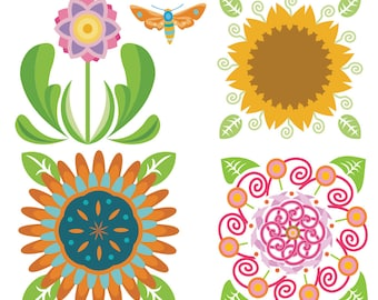 Flower Garden Clipart, Flower Clipart, Garden Clipart, Floral Clipart, Gardening Clipart, Flower Drawing, Digital Download