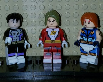 Legion of Superheroes Set Of 3 DC Minifigs Cosmic Boy Saturn Girl Lightning Lad Building Block Toy
