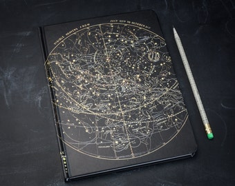 Star Chart Night Sky Journal | Astronomy Notebook, Stars, Constellation, Grid & Lined Recycled Paper, Beautiful journal, gift for her or him