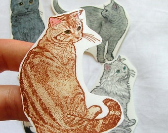 cat sticker set - furry felines - custom set of five - tabby, persian, siamese, shorthair