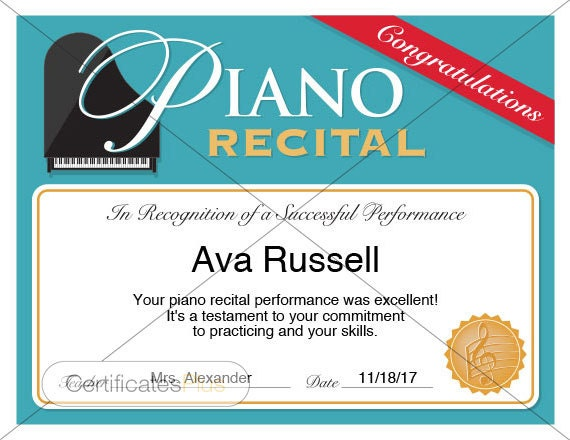 Piano recital certificate piano award printables child like this item yadclub Choice Image