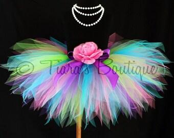 Girls Tutu, Birthday Tutu, Tutu and Headband Set, Color Burst, 11'' Rainbow Birthday Pixie Tutu, Baby Tutu, First Birthday Tutu, Tutu Set
