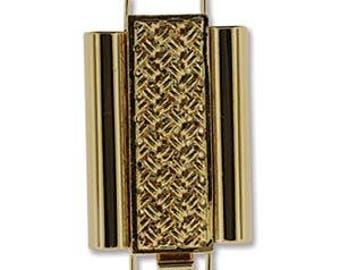 Elegant Elements BeadSlide Cross Clasp CLSP207GP - Cross Hatch 10mm x 22mm Gold Plate - one clasp