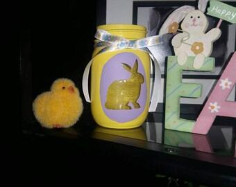 Easter mason jar, Easter candle holder, Easter bunny, bunny mason jar, Easter decor